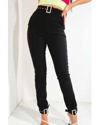 AKIRA Kelly Rhinestone Buckle Detail Trousers - Black