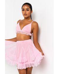 AKIRA Pink Party Ruffle Bra Top And Skirt Set
