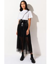 AKIRA In The Middle Tulle Maxi Skirt - Black