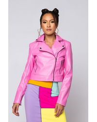 AKIRA Azalea Wang Pink Ladies Fitted Moto Jacket