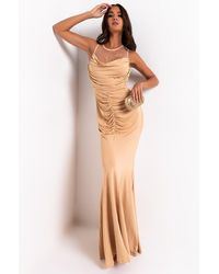 AKIRA Ready For My Close Up Mesh Rhinestone Maxi Dress With Front Ruch - Natural