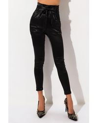 AKIRA Flossy Flossy Paper Bag High Waisted Stretchy Satin Cigarette Pants - Black
