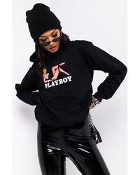 AKIRA Playboy Gal Long Sleeve Hoodie - Black