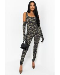 AKIRA Came To Win Camo Printed Jumpsuit - Green