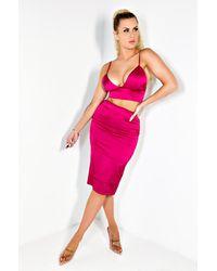 AKIRA Bella Stretch Satin Midi Skirt - Pink