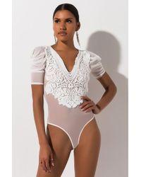 AKIRA Pure Luxury Applique Bodysuit - White