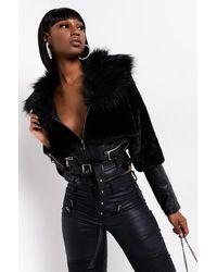 AKIRA Rich Bitch Juice Dual Fur Moto Jacket - Black
