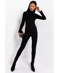 AKIRA See You Soon Long Sleeve Denim Jumpsuit - Black