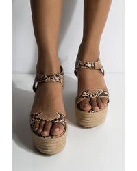 AKIRA Independent Baby Snake Wedge Sandal - Brown
