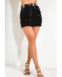 AKIRA Buckle Me Baby Mini Skirt - Black