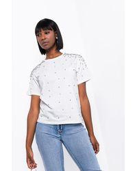 AKIRA Hit Me Up Pearl Embellished T Shirt - White