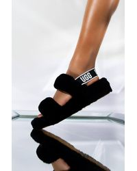 UGG Oh Yeah Sheepskin Slingback Slippers - Black