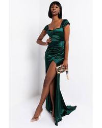 AKIRA Like A Dress Satin Maxi Dress - Green