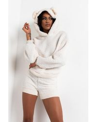 AKIRA Gimme Da Honey Pot Sherpa Bear Ears Hoodie And Shorts - White