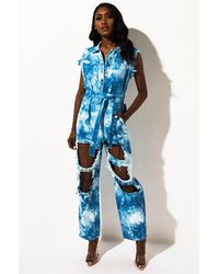 AKIRA Cut It Out Tie Dye Jumpsuit - Blue