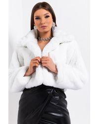 AKIRA Dayanne Plush Faux Fur Jacket - White