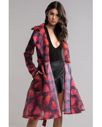 AKIRA On The Case Printed Mesh Trench Coat - Red