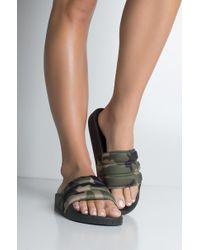 8dbf3d9e16345 Lyst - Yosi Samra Roee Studded Camo Flip Flops - Limette in Green