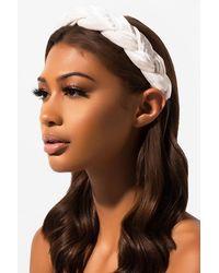 AKIRA In Love Velvet Braided Headband - White