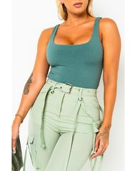 PAXTON Double Ribbed Tank Top Bodysuit - Green