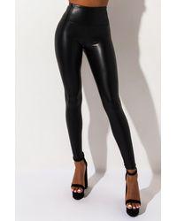AKIRA Slim Thicc Faux Leather LEGGINGS - Black