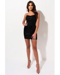 AKIRA In Plain Sight Sequin Bodysuit - Black