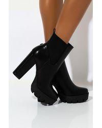 AKIRA Going Nowhere Chunky Heel Platform Bootie - Black