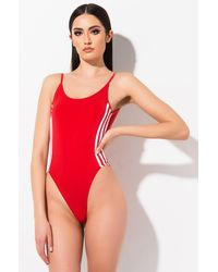 adidas Womens Three Stripe Bodysuit - Red