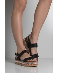 AKIRA - Festival Frenzy Embellished Flatform Sandals - Lyst