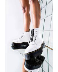 AKIRA Dr Martens Womens White Sinclair Platform Zipper Bootie