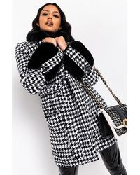AKIRA Everything Is Alright Fur Detail Houndstooth Coat - Black