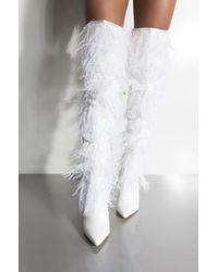 AKIRA - Circa Burlesque Feather Thigh High Boots - Lyst