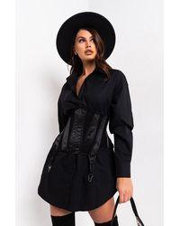 AKIRA On The Run Long Sleeve Corset Mini Dress - Black