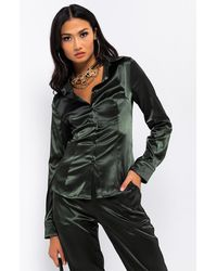 AKIRA Alice Satin Shirt - Green