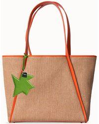 Akris Raffia Handbag With Leather Trim & Kinderstern Charm - Multicolor