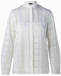 Akris - Embroidered Semi-sheer Blouse - Lyst