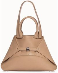 Akris Small Leather Double Top Handle Handbag - Natural