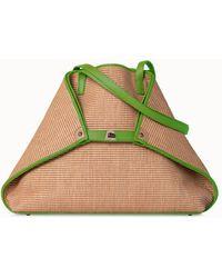 Akris Medium Raffia Handbag With Leather Trim - Green