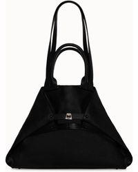 Akris Medium Leather Double Top Handle Handbag - Black
