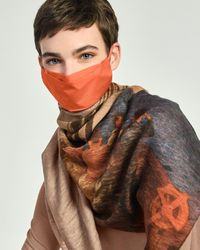 Akris Prince Albert Print Scarf & Orange Mask