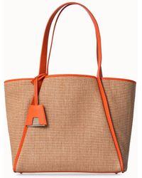 Akris Medium Raffia Handbag With Leather Trim - Multicolor