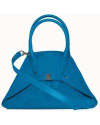 Akris Little Leather Double Top Handle Crossbody Handbag - Blue