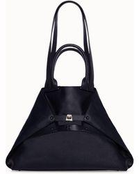 Akris Medium Leather Double Top Handle Handbag - Blue