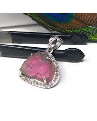 Akstar Gems Watermelon Tourmaline Diamond Pendant - Multicolor