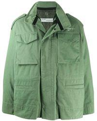 Off-White c/o Virgil Abloh Patch Pocket Overcoat - Green