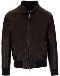 Al Duca d'Aosta Reversible Leather Bomber Jacket - Black