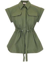 Alexander McQueen Drawcord Waist Poplin Shirt - Green