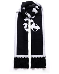 Palm Angels Black And White Wool Scarf