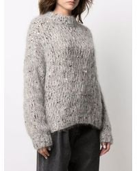 Brunello Cucinelli Sequin-embellished Chunky Knit Sweater - Gray