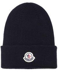 Moncler Cappello in lana con logo - Blu